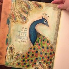 Peacock Art Journal Page - Gwen Lafleur << Must remember to try working with old color schemes like these. Art Journal Pages, Art Pages, Art Journals, Smash Book, Moleskine, Art Journal Inspiration, Journal Ideas, Peacock Art, Handmade Books