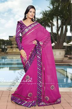 $64.55 Deep Purple And Pink Faux Georgette Saree 14954 With Unstitched Blouse