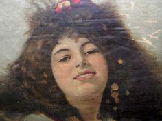 Antique Silk Painting Lady Portrait Alfonso Mucha?  Like Looks Italian Framed