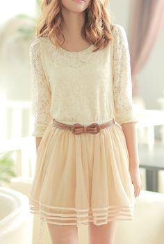 Lace shirt, chiffon skirt and a cute leather bow belt.....Love everything about this!!! Cream, pink and camel