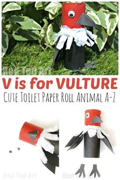V is for Vulture - a cute Toilet Paper Roll Vulture Craft for Preschool. We love this Toilet Paper Roll A-Z! Could easily be adapted to be a Bald Eagle for E is for Eagle or July Abc Crafts, Alphabet Crafts, Letter A Crafts, Craft Stick Crafts, Preschool Crafts, Bird Crafts, Craft Ideas, Craft Activities For Toddlers, Animal Crafts For Kids