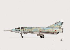 AIRCRAFT DRAWINGS: Dassault Mirage IIIEE. Ala 11. A.B Manises.