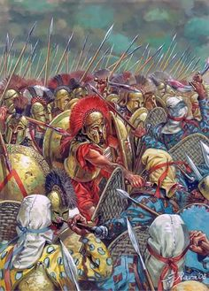 """According to the ancient Greek biographer/historian, Plutarch, when King Agesilaos (Ἀγησίλαος) of Sparta was asked why the swords of the were so short, he replied """"Because we fight close to the enemy."""" (Art: Battle of Thermopylae by Giuseppi Rava)"""