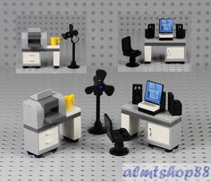 Details about LEGO – Office Desk w/ Printer Computer Monitor – Minifigure Desktop Screen Chair Original LEGO Parts. Office Desks w/ Floor Fan. Lego Office, Office Desks, Legos, Casa Lego, Technique Lego, Figurine Lego, Lego Furniture, Lego Craft, Lego Room