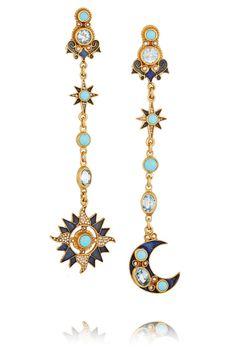 Percossi Papi Sun and Moon Gold-Plated Multi-Stone Earrings Mom Jewelry, Cute Jewelry, Vintage Jewelry, Jewelry Accessories, Jewelry Design, Moon Earrings, Pretty Birds, Schmuck Design, Fashion Jewelry