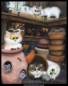 06 Pottering Shed Humorous Contemporary Cat Art: Interview with Tamsin Lord I Love Cats, Crazy Cats, Cool Cats, Cat Empire, Image Chat, Creation Photo, Cat Sketch, Gif Animé, Cat Colors