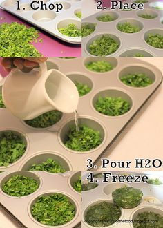 How To Freeze Herbs in A Muffin Tin ~ Thanks For The Food - A Blog