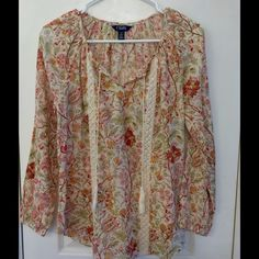 Sweet Orange and Tan Boho Peasant shirt Chaps Floral Peasant top, great condition!  India gauze material with feminine tan lace panels in front. Chaps Tops Blouses