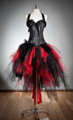 Tamaño personalizado rojo y negro pluma y tul vestido de corsé burlesco con rojo satinado arco pequeño-XL