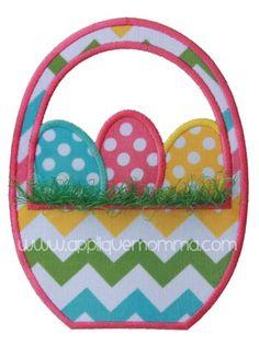 Easter Basket with Fringe Grass Applique Design
