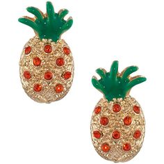 Lydell Nyc Crystal Pineapple Stud Earrings ($14) ❤ liked on Polyvore featuring jewelry, earrings, orange, crystal stud earrings, pineapple stud earrings, leaves jewelry, polish jewelry and post earrings