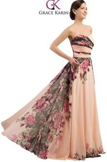 Grace Karin Sweetheart Chiffon Floral Print Evening Dress. Beaded Creations  · Grace Karin Designer Dresses f940d11760e6