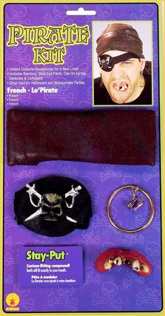 Pirate Kit - includes: bandanna, skull eye patch, clip on earring and teeth with stay put compound. Harry Potter Sweatshirt, Publix Coupons, Masquerade Party, Adult Costumes, Costume Accessories, Clip On Earrings, Pirates, Kit, Cards