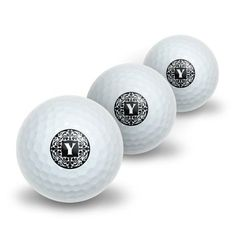 Letter Y Initial Black and White Scrolls Novelty Golf Balls 3 Pack