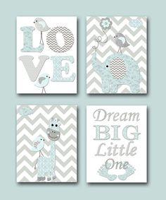 Baby Shower Gift Nursery Quotes Dream Big Little One INSTANT DOWNLOAD Art Baby Boy Nursery Art Kids Room Decor set of 4 8x10 11X14 Gray Blue