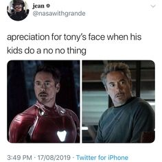 marvel avengers Apreciation for tonys face when his kids do a no no thing popular memes on the site Marvel Jokes, Marvel Avengers, Funny Marvel Memes, Dc Memes, Avengers Memes, Marvel Heroes, Marvel Comics, Avengers Assemble Movie, Avengers Funny Quotes