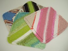 Multi  Color Handknitted Dishcloths Washcloth  by tonebelle, $1.50