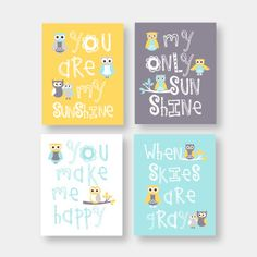 Owl nursery Art, You Are My Sunshine Art Prints  - Yellow, Aqua and Gray with OWLS  -  wall art, baby shower gift,  girl and boy colors