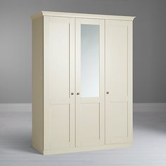 Buy John Lewis Mix it Woburn Round Handle Triple Wardrobe with Central Mirror, Ivory Online at johnlewis.com