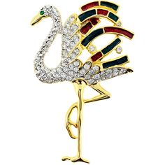 Flamingo Crystal Bird Pin Brooch