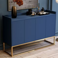 Modern Blue Buffet Sideboard Kitchen Sideboard Cabinet with 4 Doors in Gold Decor, Dining Room Cabinet, Interior, Home Furnishings, Dining Room Buffet, Home Decor, House Interior, Furniture Makeover, Sideboard Furniture