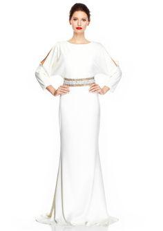 BADGLEY MISCHKA Three-Quarter Sleeve Gown with Embellished Waist @ideeli