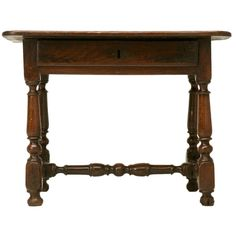 18th C Rustic French Oak Farmhouse Side/End/Writing Table w/Drawer | 1stdibs.com