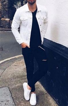 Cool Outfits For Men, Winter Outfits Men, Stylish Mens Outfits, Casual Outfits, Trendy Mens Fashion, Mens Fashion Suits, Denim Jacket Men, Men Shorts, Mode Streetwear