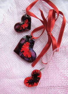 Hand painted Ceramic Jewelry Set . Red  Handmade by AHouseAtelier, $35.00