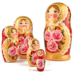 Rose Beauty 5pc Nesting Doll - Red | Floral theme | The Russian Store
