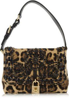 Dolce & Gabbana Animal Miss Dolce Medium Leopard Print Calf Hair Shoulder Bag