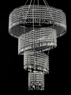 Large 4-Tier Acrylic Crystal Tilted Chandelier - Clear