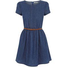 OASIS Harriet Denim Dress ($13) ❤ liked on Polyvore featuring dresses, vestidos, robe, blue dresses, denim, denim dress, oasis dresses, cap sleeve dress, short cap sleeve dress and blue denim dress