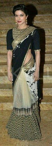 Priyanka chopra in designer wear saree..........