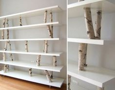 Más ideas para decorar con ramas secas: repisas modernas con toque rústico