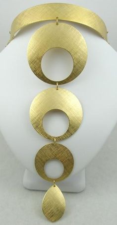 Napier 1970's Gold Circles Collar Necklace