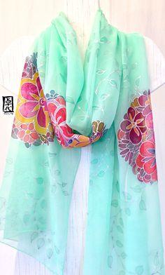 Hand Painted Silk Shawl Scarf Mint Green por SilkScarvesTakuyo, $215.00