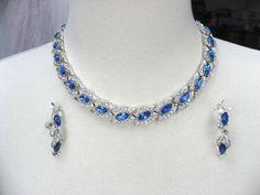 Vintage Sapphire Blue Rhinestone Bridal Necklace Earring Demi 1960s Designer STAR. $135.00, via Etsy.