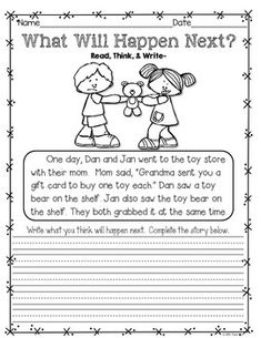 Writing Activities and More: December, January, & February~K to Grade 1 Writing Prompts For Kids, Writing Lessons, Kids Writing, Teaching Writing, Writing Skills, Kindergarten Writing Activities, Preschool, School Worksheets, Writing Worksheets