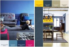Contrast Palette - Deep blues, greys and denims with an unexpected, exciting bold splash of high-contrast yellow or fuchsia pink. Colour Schemes, Color Trends, Color Combinations, Plascon Paint, Plascon Colours, Colour Story, Blue Palette, Wall Paint Colors, Latest Colour