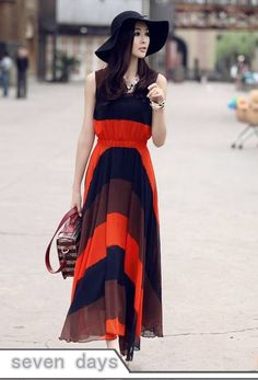 Free Shipping 2013 New Bohemian Fashion Empire Waist Color Block Stripes Maxi Dress YR010408OA-in Dresses from Apparel & Accessories on Aliexpress.com