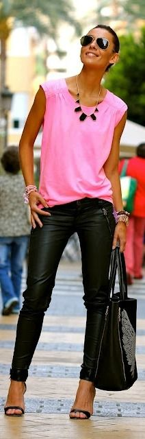black leather pants + hotpink + heels