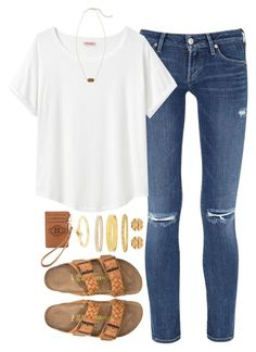 """what I wish I could wear to school"" by tabooty ❤ liked on Polyvore featuring Citizens of Humanity, Organic by John Patrick, Birkenstock, Tory Burch, Kendra Scott and Kate Spade"