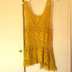 Gorgeous Mustard Lace Tank Intricate lace tank. Looks fabulous over black, navy, or white camisoles. Downeast Tops Tank Tops