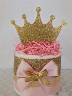 Mini Princess Pink and Gold Diaper Cakes, Princess Theme Baby Shower Centerpiece, Baby Girl Pink and Gold Baby Shower Gift by AllDiaperCakes on Etsy