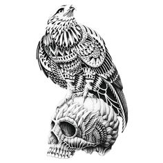 This Ornate Red Tailed Skull wall sticker decal by BioWorkZ features a highly detailed red-tailed hawk perched on a skull. A bit of creepy meets nature in this cut out bird wall sticker. This skull decal is done in black and white with ornate feather-like details while the hawk stands atop it as if searching for its next prey. This bird and skull decal will easily peel and stick to any surface. Try it on walls, mirrors, doors, windows – easy installation guaranteed! Ornate Red Tailed Skull…