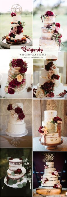 Burgundy wedding cakes for a fall wedding. Trendy Wedding, Perfect Wedding, Fall Wedding, Rustic Wedding, Our Wedding, Dream Wedding, Wedding Tips, Autumn Wedding Cakes, Wedding Themes