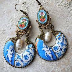 Palace Frescoes, antique Azulejo Tiles and Italian Micro Mosaic. Wearable European History by #Atrio #atrio_azulejos #azulejos #tiles #frescoes #palaciodequeluz #portugal #italy #italian #micromosaic #venetian #florence #pedradura #flowers #vintage #earrings #OOAK #romantic #bohemain #bohochic #woman #cherub #lovely #princess #shipsfromUSA SHOP atriotiles.com