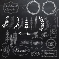 Chalkboard Elements and vectors by Tangle's Treasures on Creative Market