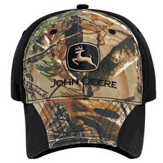 John Deere Canvas Olive Cap Hat w Distressed Brown Coated Bill Adjustable